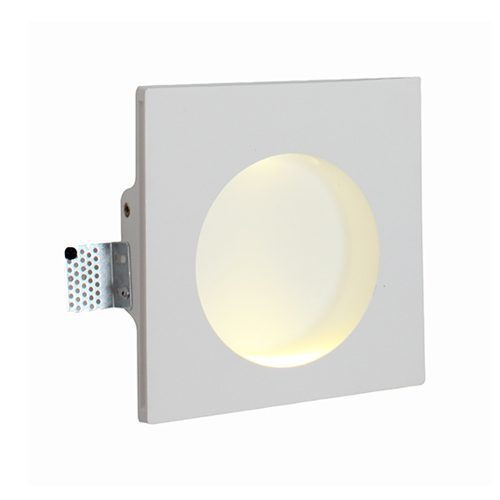 EUROLUX W387 GYPSUM RECESSED LED WHITE WALL LIGHT